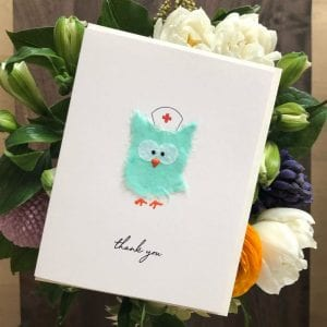 This sweet little nurse owl card is a perfect thank you to the frontline nurse in your life. Designed and produced in Vancouver, Canada.